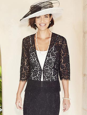 Nightingales lace top Black & Ivory