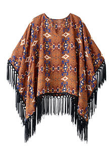 V-Neck Fringe Trim Poncho