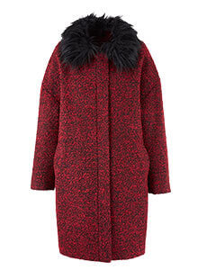Fur Trim Textured Cocoon Coat
