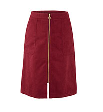 Suede Zip Front Skirt