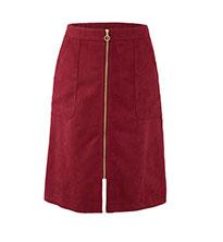 Suede Zip Front Skirt