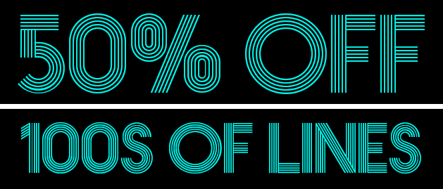 50% off 100s of lines