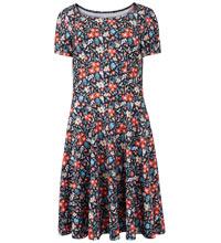 Black/White Print Linen-Mix Dress
