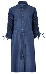 LYOCELL DENIM ROUCHED SLEEVE SHIRT DRESS