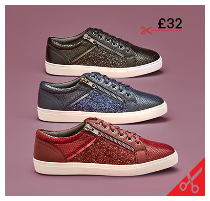 Heavenly Soles Glitter Leisure Shoes Wide E Fit