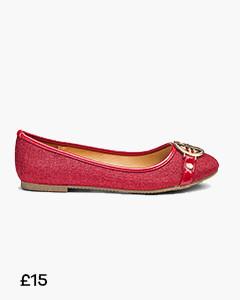 Heavenly Soles Trim Ballerina Shoes Wide E Fit