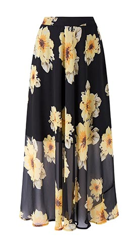 Floral Print Double Side Split Maxi Skirt
