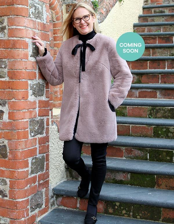 Faux Fur Coat with Bow Tie