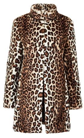 Funnel Neck Leopard Faux Fur Coat
