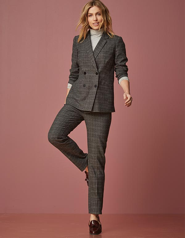 Double Breasted Check Blazer & Tapered Leg Stretch Check Trousers Regular