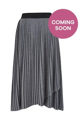 Pleated Stretch Jersey Asymmetric Hem Skirt