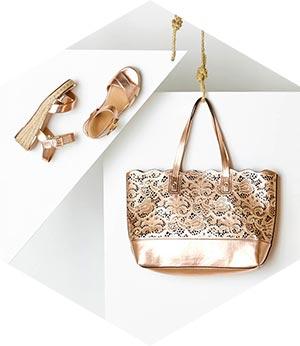 Gold Bag & Gold Sandals