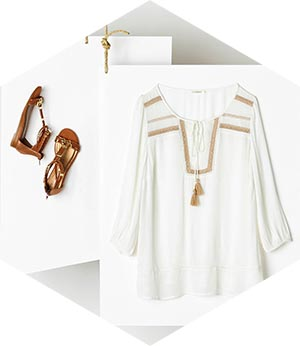 White Tunic Top & Bronze Sandals