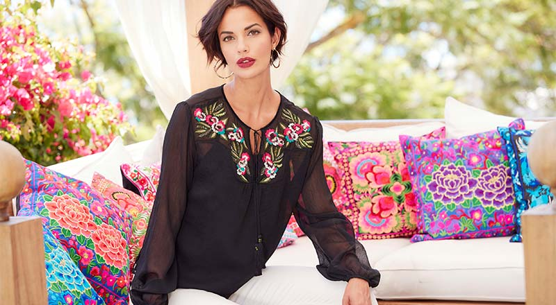 Embroidered Yoke Crinkle Blouse