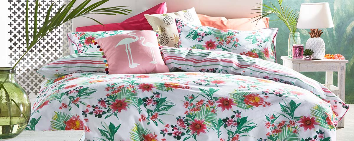 Lorraine Kelly Renee 180 Cotton Percale Reversible Print Duvet Set
