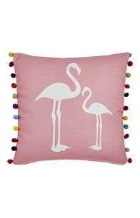 Lorraine Kelly Flamingo Cushion with Pom Poms