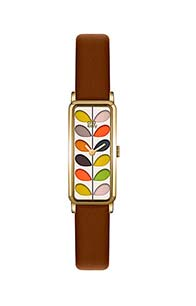 Orla Kiely Ladies Stem Print Watch With Brown Leather Strap