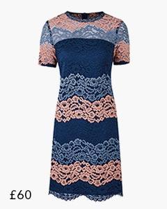 Blue/Pink Lace Shift Dress