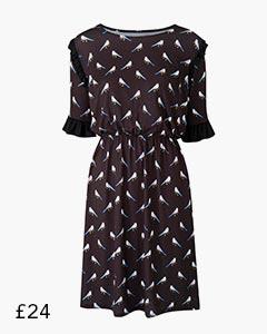 Black/ Multi Bird Print Ruffle Detail Tea Dress
