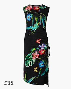 Black Tropical Print Shirred Bodycon Dress