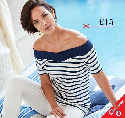Stripe Short Sleeve V Neck Bardot Top