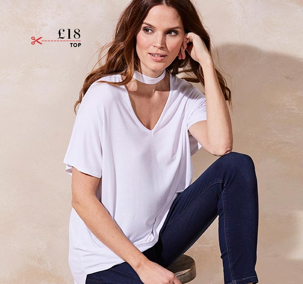 White Choker Neck Low V Slouch Top