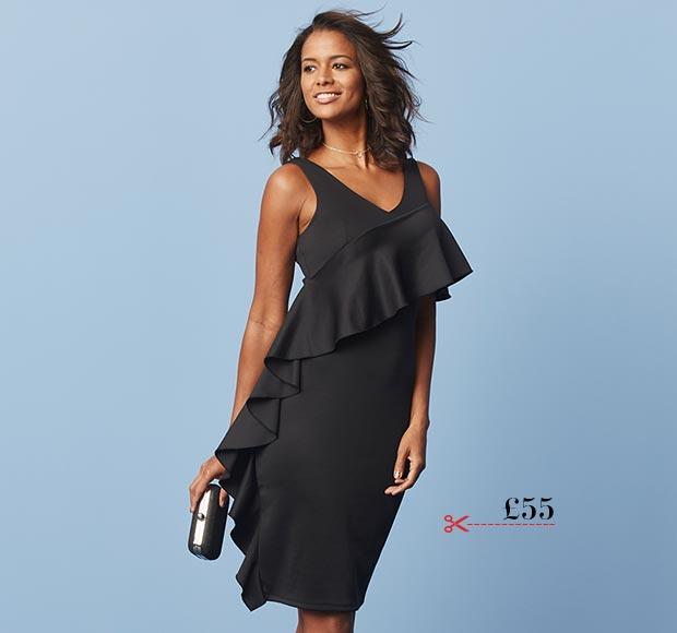 Black Scuba Bodycon Frill Dress