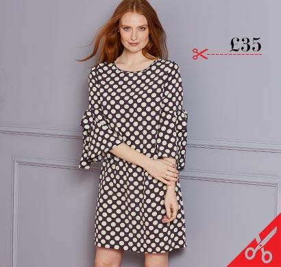Black Spot Print Tie Sleeve Shift Dress