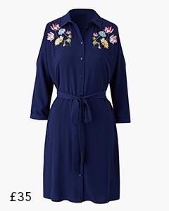 Embroidered Cold Shoulder Shirt Dress Navy