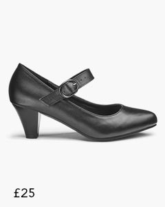 Heavenly Soles Mary Jane Buckle Fastening Shoes Wide E Fit