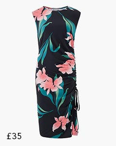 Pink Floral Shirred Bodycon Dress