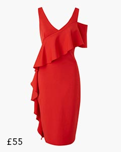 Red Scuba Bodycon Frill Dress