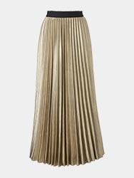Metallic Sunray Pleat Midi Skirt