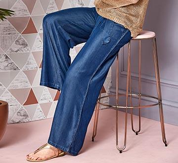 Relaxed Wide Leg Tencel Trousers Regular Length