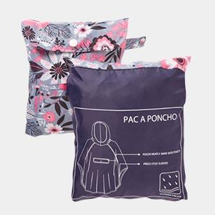 Grey Floral Pac-a-Poncho Folded