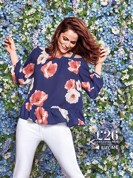 Navy Floral Off-Shoulder Blouse