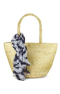 Straw Beach Bag with Scarf
