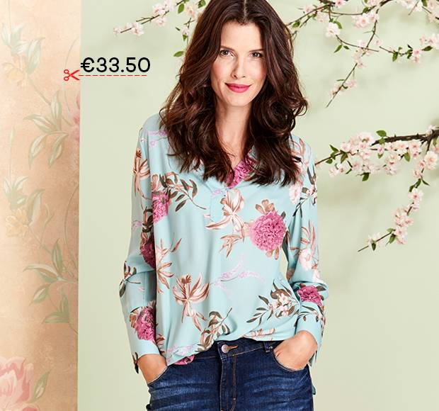 FLORAL OVERSIZED SHIRT WITH PEARL TRIM