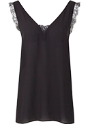 V Neck Lace Vest with Mock Buttons