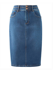 premium shape & sculpt mid blue denim pencil skirt length 24in