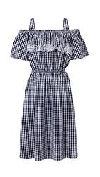 Black/White Gingham Bardot Embroidered Dress