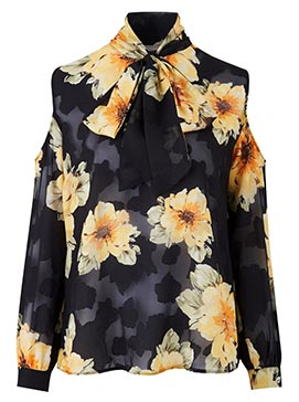 Black Floral Cold Shoulder Blouse