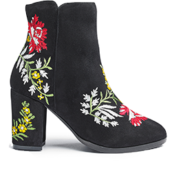 Heavenly Soles Embroidered Ankle Boots Wide E Fit