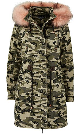 Camoflauge Cotton Parka with Faux Fur Hood