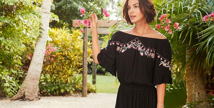 Black/Pink Embroidered Dress