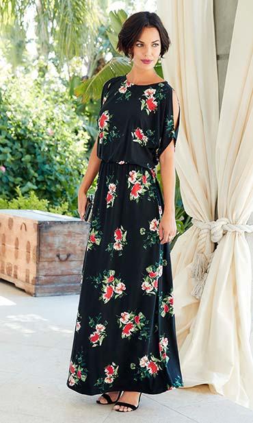 Black/Red Floral Split Sleeve Maxi Dress