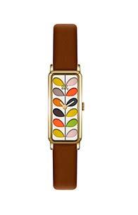 Orla Kiely Ladies Stem Print Watch With Brown Leather Strap