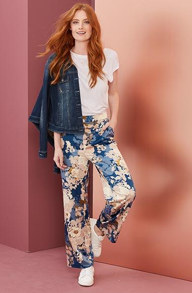 Floral Printed Wide Leg Satin Trousers Regular