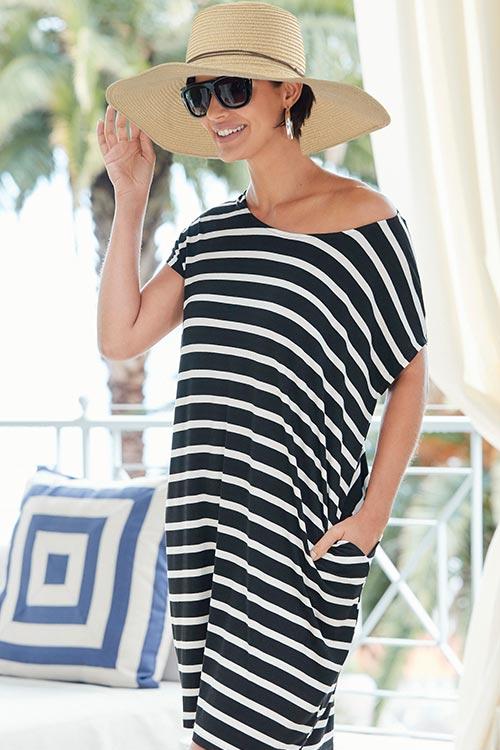 Black/Ivory Stripe T-shirt Pocket Dress