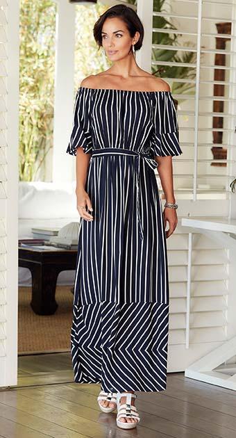 Navy/Ivory Stripe Bardot Dress